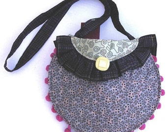 Round Shoulder Bag with Strap- Pink, Grey, Black, and Green, Item 3