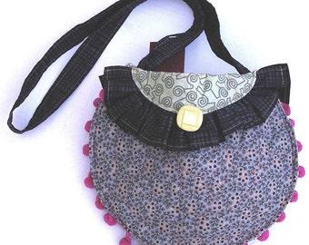 Round Shoulder Bag with Strap- Pink, Grey, Black, and Green, Item 3