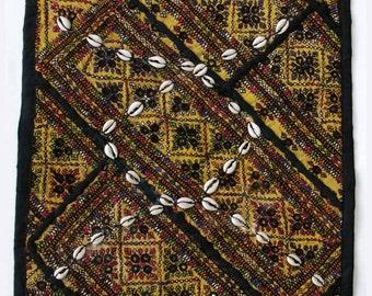 Vintage Embroidered Pillow: Pakistan, Textile Remnants, Sm. 14'', Item 2