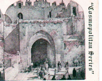 Vintage Stereoview Card: Damascus Gate from within Jerusalem. Cosmo514