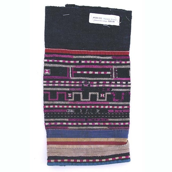 Vintage Hmong Sleeve 5, Thailand- Cross Stitch Embroidery on Black Cotton