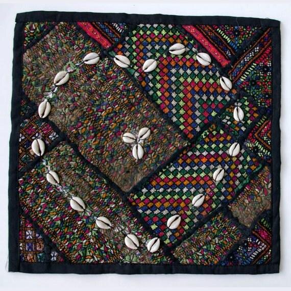 Vintage Embroidered Pillow: Pakistan, Textile Remnants, Sm. 14'', Item 3