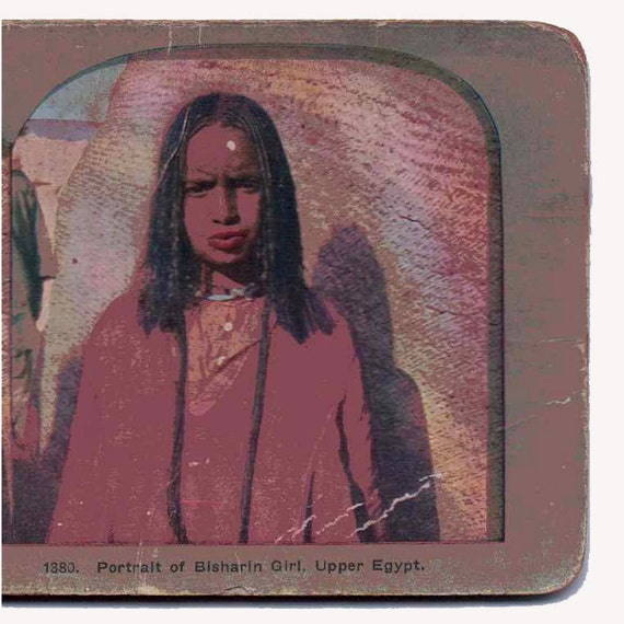 Vintage Stereoview Card: Portrait of Bisharin Girl, Upper Egypt.  Tribal 1380