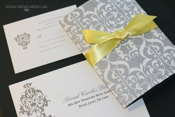 Wedding Invitations Grey: GREY AND YELLOW DAMASK Wedding Invitations By Socialcircles