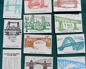 Portland Bridges of the Willamette New Printing Set of 10 Art Postcards