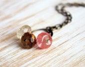 Neapolitan. Necklace. Brass and cherry quartz treasure. Strawberry chocolate