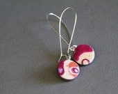 Abstract earrings. Polymer clay mokume gane. Round, simple, bright and delicate.