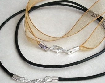 Custom Sized - Single Cord,  Necklace, Pendant Cord, Satin Rattail, Organza Ribbon, Genuine Leather