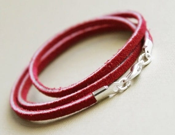 Custom Sized - Single Cord,  Necklace, Pendant Cord, suede leather, leather lace, flat leather, red