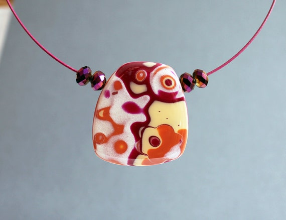 Desert sparkles. Necklace, choker. Polymer clay  pendant and neck wire. Faux glass. Mokume gane.