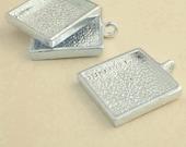 100pcs 25mm silvery white Pewter  square Tray bezel blank Pendant