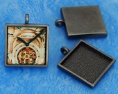 NEW  10pcs 25mm antique Silver Pewter square Tray bezel blank Pendant