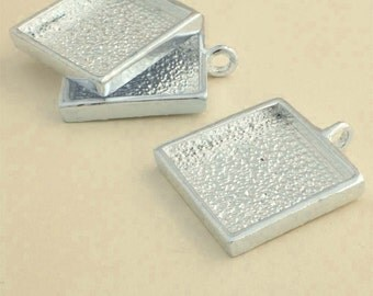 20pcs 25mm silvery white Pewter  square Tray bezel blank Pendant