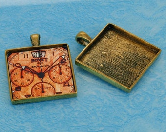 20 pcs 33X33mm Great foursquare antique bronze  Pewter bezel blank Pendant Tray