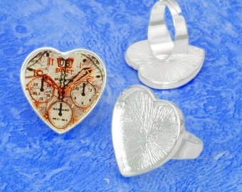 20pcs silver tone Heart tray Adjustable pewter Ring Blank 20pcs glass