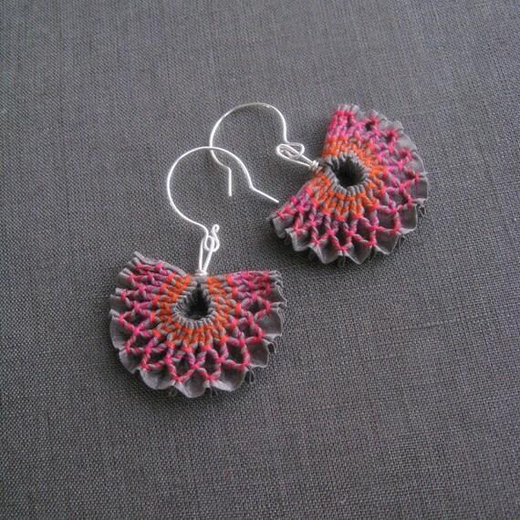 SALE - red sky earrings