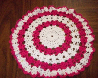 Pink and white Doily