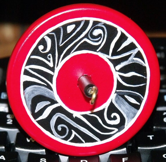 drop spindle, (small) Red Button, .68 oz top whorl