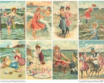 SEASIDE SUMMER Vintage Postcards - Instant Download Digital Collage Sheet