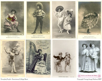 EVERYDAY PEOPLE ENTERTAINERS Vintage Postcards - Instant Download Digital Collage Sheet