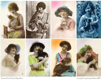 FLAPPER FELINE FRIENDS Vintage Postcards - Instant Download Digital Collage Sheet