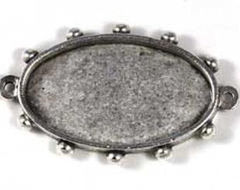 Pendant Tray / Bezel - Oval Hobnail Silver (k905sp)