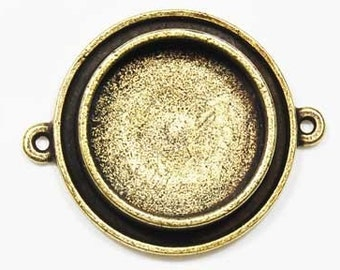 LAST ONE Pendant Tray / Bezel - Raised Round Bronze (k912bp)