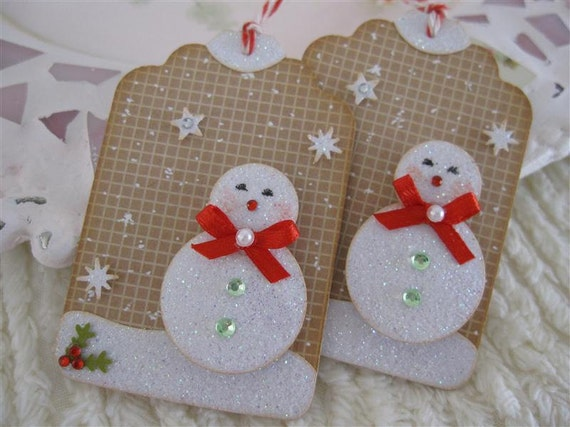 Frosty Snow Glittery Christmas Cute Snowman Tags set of 2