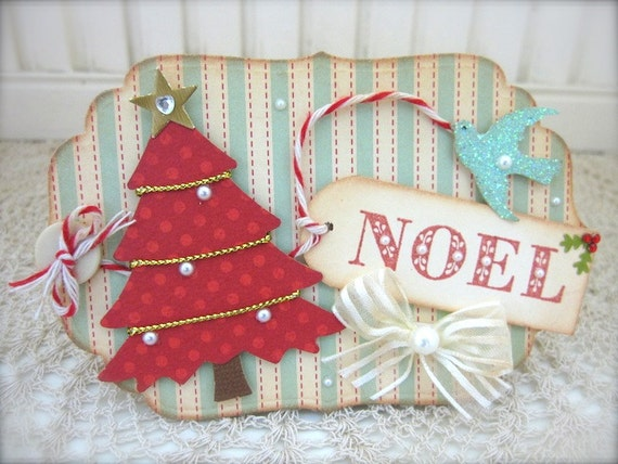 Vintage tiffany blue Christmas Tree NOEL tag Embellishment