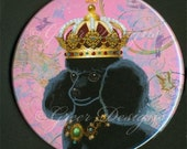 Black Poodle King in Crown Mirror available in 2 sizes