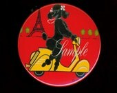 Black Poodle Eiffel Tower Vespa Scooter Purse Mirror Retro 2 sizes available