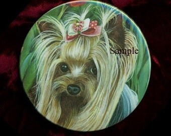 Sweet Yorkie Yorkshire Terrier Portrait 3.5 in Purse Mirror