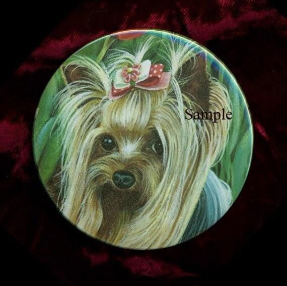 Bridal Shoes Yorkshire: Sweet Yorkie Yorkshire Terrier Portrait Purse Mirror 2 Sizes