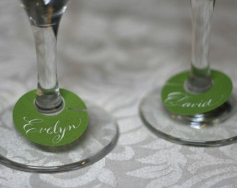 Party Wine Glass Tag Place Card with Handwritten Calligraphy