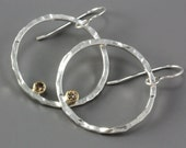 Silver Hammered Hoop Earrings - Champagne Diamonds - Circle Earrings - Diamond Earrings - 14k Gold - Large Silver Hoops - Made to Order