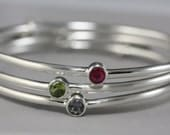 Birthstone Bangle - Gemstone Bracelet - Your Choice of Stone - Modern Simple Bracelet - Bangle Bracelet - Mothers Day Gift - Made to Order