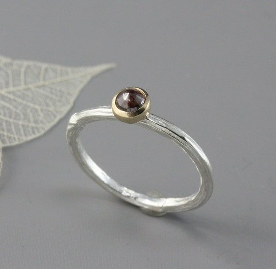 Sterling Silver Twig Ring with Rose Cut Diamond and 14k Yellow Gold--READY TO SHIP