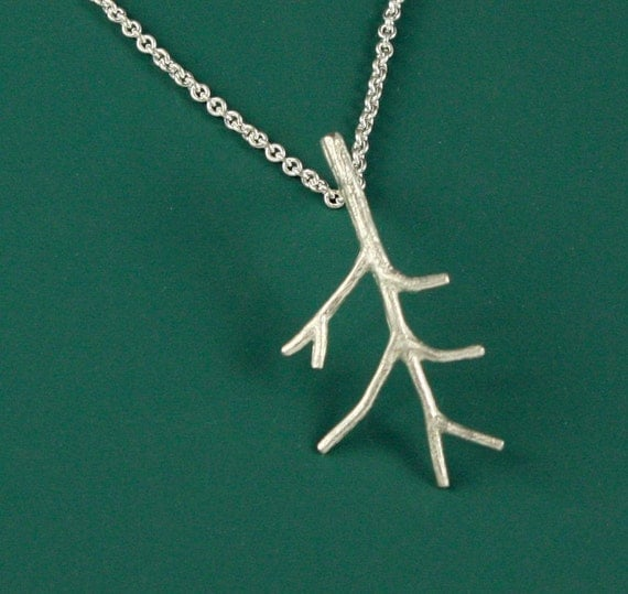 Sterling Silver Smallest Branch Necklace - Twig Branch Pendant - Nature Jewelry - Organic Necklace - Cast Tree Pendant - READY TO SHIP