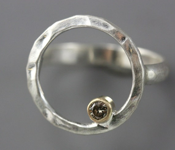 Sterling Silver Hammered Hoop Ring - Champagne Diamond Ring - 14k Yellow Gold - Diamond Circle Ring - Made to Order in Your Size