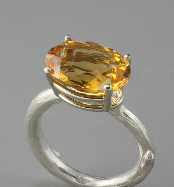Sterling Silver and 14k White Gold Brazilian Citrine Cocktail Ring--Size 7.25--READY TO SHIP