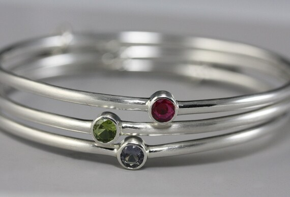 Sterling Silver Birthstone Bangle with Gemstone of Your Choice - Modern Simple Bracelet - Bangle Bracelet - Mothers Day Gift - Made to Order