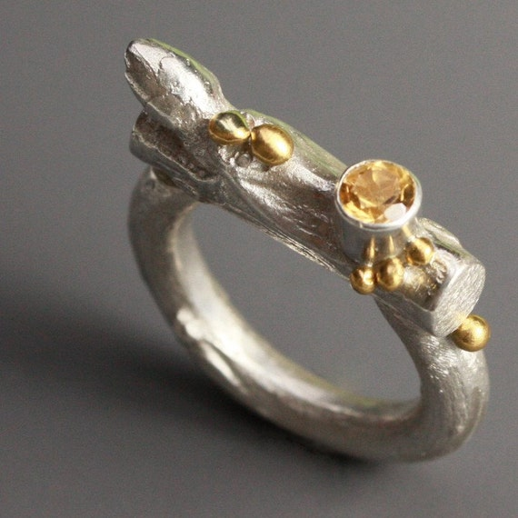 RESERVED--Citrine Twig Ring in Sterling Silver and 24k Gold