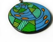 """Blue and Green """"Growing Season""""  Hand Drawn Doodle Necklace"""