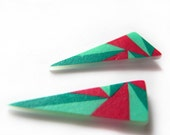 Geometric Triangle post earrings in magenta and teal