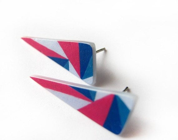 Geometric Triangle post earrings in pink and blue