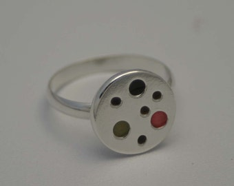 Pink, Green and Brown Spot Ring