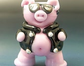 Handmade Lampwork Italian Glass Bead Bacon the ROAD HAWG Outlaw Biker Pig SRA Gelly