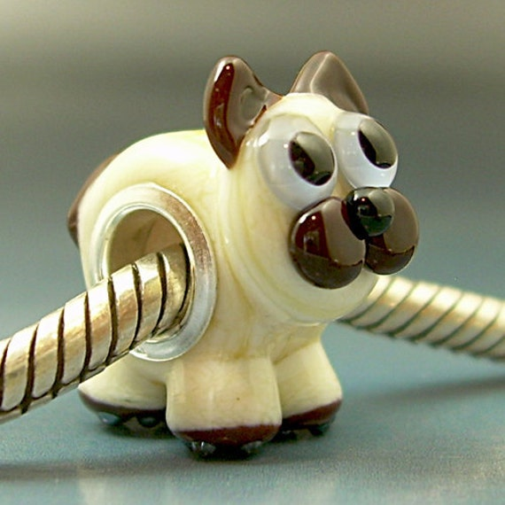 SIAMESE KITTEN Handmade Lampwork Glass BHB European Charm Big Hole Bead sra Gelly Kitty Cat