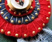 Hand Embroidered Brooch, Red Felt and Grey Lace, Medal, Badge, Royal French Chevalier, Aristocrat Jewelry, Red, Navy Blue, Gold, Gray, ooak