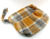 Plaid Wool Wristlet Purse with Strap in Mustard Yellow Grey and White with Buttons